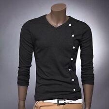 Unifarbene Herren-Shirts aus Baumwollmischung mit V-Ausschnitt