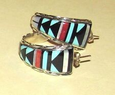 VTG~1980s ZUNI CM Booqua TURQUOISE CORAL Inlay STERLING SILVER Hoop EARRINGS
