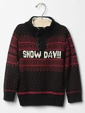 """GAP Baby / Toddler Boys Size 5T / 5 Years Red Black Fair Isle """"Snow Day"""" Sweater"""