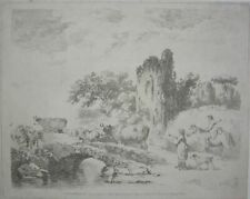 """1800 George Morland Antique Soft Ground Etching Art """"The Drovers"""""""