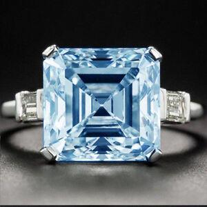 Unique 3.00 Ct White Blue Asscher Moissanite Engagement Ring 925 Sterling Silver