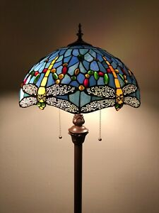 """Enjoy Tiffany Floor Lamp Sky Blue Stained Glass Dragonfly Antique Vintage H64"""""""