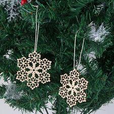 Xmas 10 pcs/set Assorted Wooden Snowflake Laser Cut Christmas Tree HangingSS