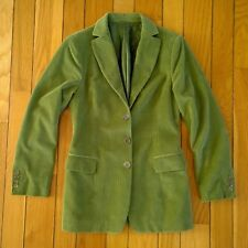 KITON Italy Women Corduroy Cashmere 4/3 Roll Blazer Jacket Coat Green IT 44 US8