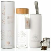 The NEW Lotus Glass Tea Tumbler with Infuser + Strainer with Sleeve for Loose