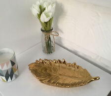 Gold Peacock Feather Resin Trinket Dish Tray Jewellery Ornamental NEW 27cm