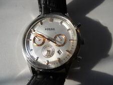 Fossil Cronógrafo Hombres Cuero Negro, cuarzo, Pila & ANALOGICO watch.fs-4640