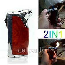 With Cigar Punch Windproof Cigarette Smoking Tobacco Pipe Butane Gas Lighter