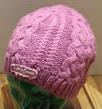 GIRLS YOUTH LIFE IS GOOD WINTER HEAVY KNIT HAT DARK PINK VERY GOOD CONDITION