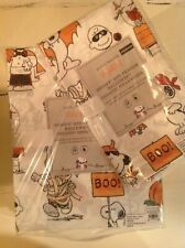 NWT Pottery Barn Kids Peanuts Snoopy HALLOWEEN  ORGANIC Cotton Sheet set  QUEEN