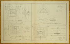 AUTHENTIC CIVIL WAR MAP ~ PLANS OF FORTS - BATTERIES - MOBILE, ALA.-1864