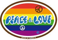 Peace And Love - Small Bumper Sticker / Decal