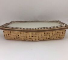 Longaberger 2006 Heartwood Serving Tray Basket w Liner and Lidded Insert