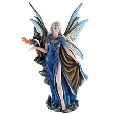 "Blue Cape Fairy With Fire Breathing Dragon Figurine Statue 11.5"" High New In Box"