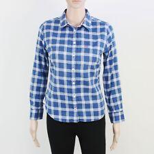 Jack Wills Womens Size 8 Blue Grey Check Cotton Long Sleeve Shirt