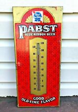 Vintage Pabst Blue Ribbon Pbr Thermometer Sign Good Old Time Flavor Advertising