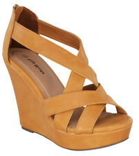 SIZE 8 CAMEL HIGH HEEL WEDGE SUMMER CAGED SANDAL WOMEN OPEN TOE PLATFORM  PUMP