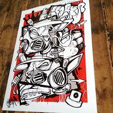 HOAKSER GRAFFITI CHARACTER COMIC POSTER PRINT A3 CANVAS STREET ART RED BLACK NEW