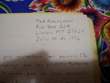 Ted Kaczynski – the Unabomber – Handwritten Letter – Original & Unique