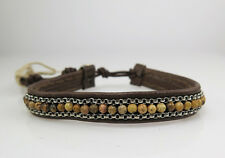 CHAN LUU MENS BROWN LEATHER WRAP GEMSTONE BRACELET Sterling Silver UNISEX