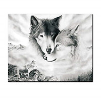 AEVIO Wolf Wall Art Canvas Print Poster Black and White Wolves Photography Art