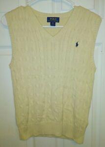Polo Ralph Lauren Boys Cable Net Sweater Vest Medium Cream 8-10 M