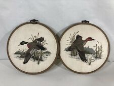 """Red And Green Mallard Flying Duck Circle Fabric Hanging Decorations 9"""" Set of 2"""