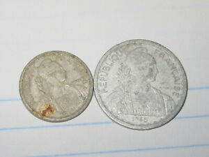 2 Pcs French Indochina Coins 1945 (See Photos) # B72
