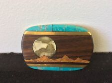 INLAID BELT BUCKLE BRASS STONE TURQUOISE WOOD MOUNTAIN MAN FACE HAND CRAFTED