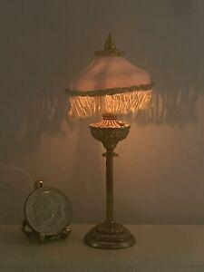 Vintage Artisan N MINNICK Victorian Tassel Lamp Working Dollhouse Miniature 1:12