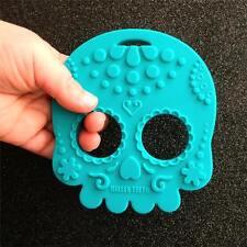 Helles Teeth Teal sugar skull teething toy alternative goth punk rock metal