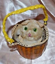 VINTAGE  Wind Up Toy  PUSSY CAT IN BASKET Japan