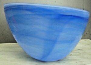 Large hand blown flow-through Italian? aqua-blue glass bowl in perfect condition