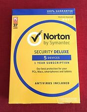 (NEW, SEALED) Norton Security Deluxe Multi-Device 5 (PC Mac Android iOS) 1 Year