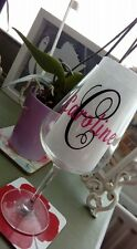 2 Vinyl Name & 2 Initial Stickers for Wine Glass DIY