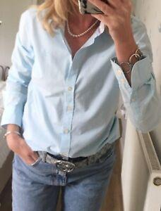 CREW Clothing Ladies Blue Pattern Blouse Shirt Uk 10