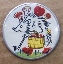Russian USSR Metal Pin Badge HEDGEHOG Mushroom CARTOON HERO folk fairy tale 70's