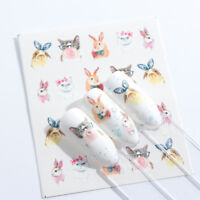 Nail Art Water Decals Stickers Transfers Easter Bunny Rabbits Cat (S673)