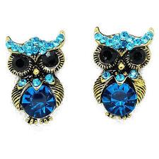 Luky Retro Gold Tone Owl Design Black Turquoise Blue Crystal Stud Earrings