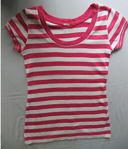 """Elle Sport"" T-Shirt –  Pink & White Stripe - Size 12"