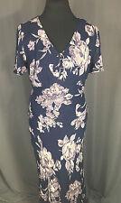 Nostalgia Ballroom Sun Dress Vintage Look Size Large L Navy Blue Floral Design