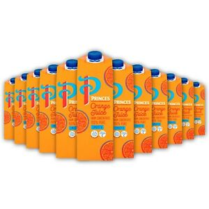 Princes Orange Juice from Concentrate, 12 x 1L Drink 100% Pure Smooth
