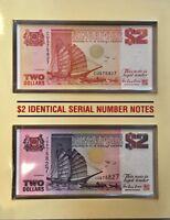 SINGAPORE SET 2 PCS; 2 DOLLARS 1990 1992  P 27 28 W/ FOLDER UNC