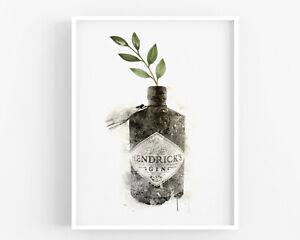 Botanical Gin Print,Kitchen Print Wall Art,Hendricks,Alcohol Bar,Home Decor Sign