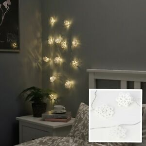 IKEA STRÅLA LED String Lighting 12 Fairy Lights Battery Operated White Snowflake