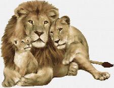 """LION famiglia contato CROSS STITCH KIT grandi felini / Wildlife 15 """"X 12"""" animali / INSETTI"""
