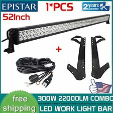 52 Inch 300W LED Light Bar+Roof Mounting Bracket For Jeep Wrangler JK+Wiring Kit