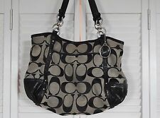 COACH F20807 Black Signature Tote Shoulder Bag Coach Purse Black Grey EUC NICE!