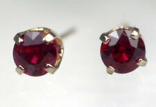 0.60 cts Solid 14K Yellow Gold 4mm Pigeon Blood Red Ruby Stud Earrings $795
