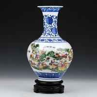Famille rose porcelain vase painted Chinese children kids in spring landscape